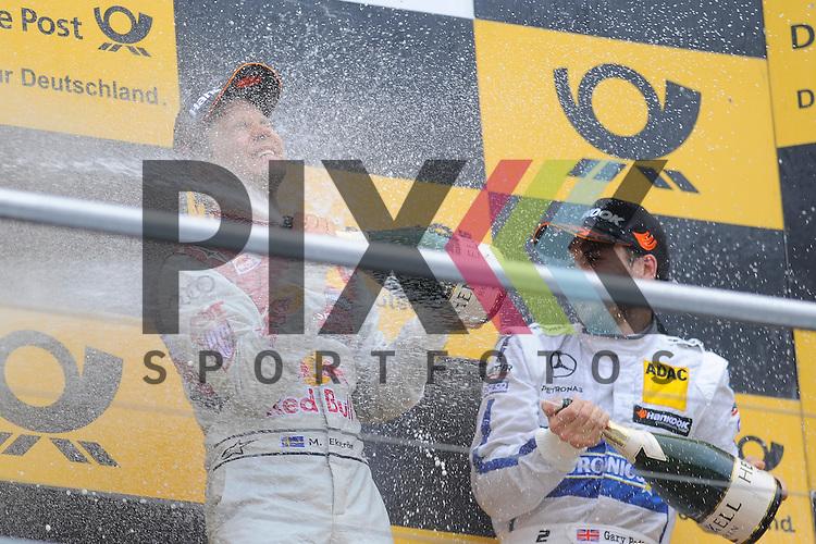 # 5 Mattias Ekstroem auf Audi RS5 DTM Audi Sport vom Team Abt Sportsline bei der Champagnerdusche rechts # 2 Gary Paffett auf Mercedes-AMG C 63 DTM vom ART Grand Prix  beim Rennen der DTM auf dem Hockenheimring.<br /> <br /> Foto &copy; P-I-X.org *** Foto ist honorarpflichtig! *** Auf Anfrage in hoeherer Qualitaet/Aufloesung. Belegexemplar erbeten. Veroeffentlichung ausschliesslich fuer journalistisch-publizistische Zwecke. For editorial use only.