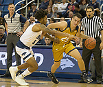 California Baptist guard Ty Rowell (25) drives against Nevada in the first half of an NCAA college basketball game in Reno, Nev., Monday, Nov. 19, 2018. (AP Photo/Tom R. Smedes)