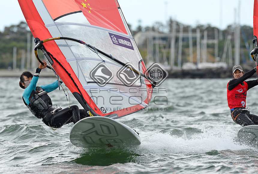 RSX-Women / Jiali SUN  (CHN)<br /> 2013 ISAF Sailing World Cup - Melbourne<br /> Sail Melbourne - The Asia Pacific Regatta<br /> Sandringham Yacht Club, Victoria<br /> December 1st - 8th 2013<br /> &copy; Sport the library / Jeff Crow