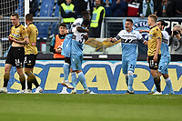 Lazio players celebrate after Udinese own goal of 2-0 <br /> Roma 17-4-2019 Stadio Olimpico Football Serie A 2018/2019 SS Lazio - Udinese <br /> Foto Andrea Staccioli / Insidefoto