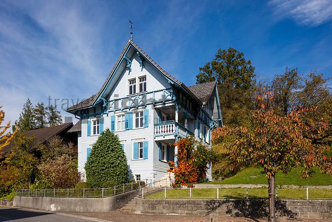 Old wooden house, Eschen, Rheintal, Rhine-valley, Liechtenstein.