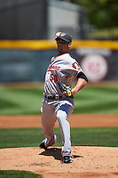 Altoona Curve starting pitcher Ryan Vogelsong (50), on rehab assignment from the Pittsburgh Pirates, delivers a warmup pitch during a game against the Erie SeaWolves on July 10, 2016 at Jerry Uht Park in Erie, Pennsylvania.  Altoona defeated Erie 7-3.  (Mike Janes/Four Seam Images)