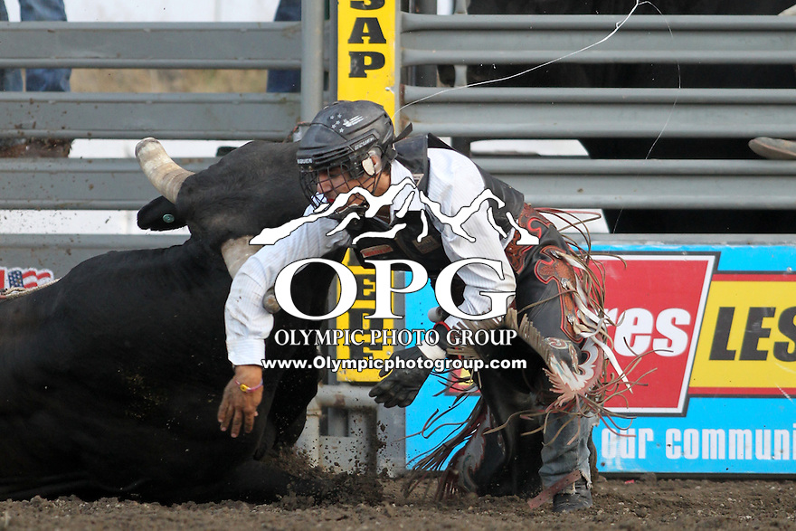 20 Aug 2014:  Jesse Kardis was not able to score while competing in the Seminole Hard Rock Extreme Bulls competition at the Kitsap County Stampede in Bremerton, Washington.