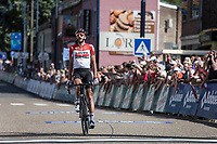 Jelle Vanendert (BEL/Lotto Soudal) with a solo win. <br /> <br /> <br /> Baloise Belgium Tour 2018<br /> Stage 4:  Wanze - Wanze 147.3km