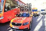 CCC Team car and bus before the start of Strade Bianche 2019 running 184km from Siena to Siena, held over the white gravel roads of Tuscany, Italy. 9th March 2019.<br /> Picture: Eoin Clarke | Cyclefile<br /> <br /> <br /> All photos usage must carry mandatory copyright credit (© Cyclefile | Eoin Clarke)