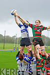 Tralee's Ciara Griffin gets up for the ball against Highfeild in the Women's All Ireland league on Sunday.