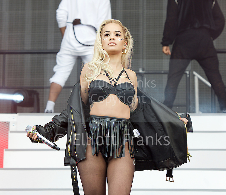 Wireless Festival 2015 <br /> at Finsbury Park, London, Great Britain <br /> 28th June 2015 <br /> <br /> <br /> Rita Ora <br /> performing at Wireless festival on main stage <br /> <br /> <br /> <br /> Photograph by Elliott Franks<br /> <br /> Contact:<br /> Livepix<br /> <br /> Steve Gillett &amp; Angela Lubrano<br /> 1a Larchwood Close, <br /> Banstead, SM7 1HE, UK<br /> <br /> Telephone: 01737 373732<br /> <br /> Mobile :    07958 961 625<br /> e-mail: live@livepix.biz<br /> <br /> 2015 &copy; Elliott Franks