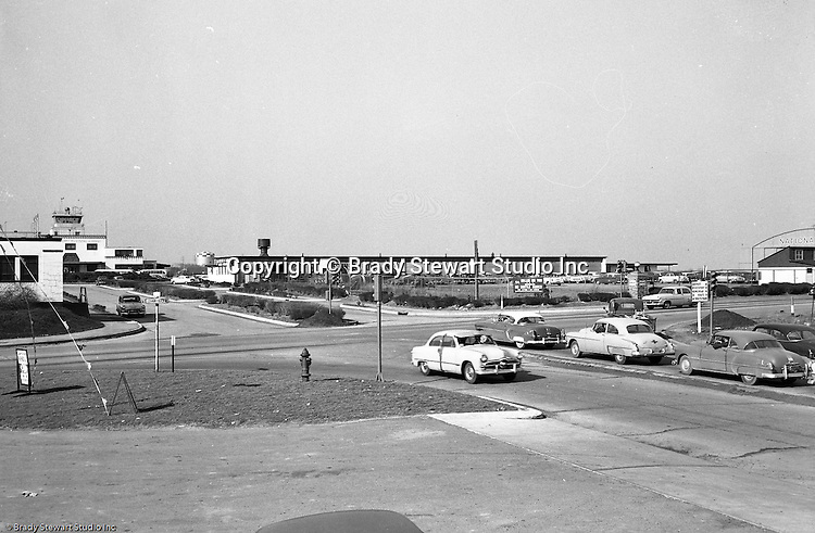 Pittsburgh PA:  Location photography of another Railway Express accident scene for attorney's Reed Smith, Shaw and McClay - 1953.  View of the intersection of Camp Hollow Road and Lebanon Church Road in West Mifflin.  Some of the businesses near the Allegheny County Airport were Miller Air Taxi, Stinson and Piper Cub airplanes and the National Steel airport hanger.