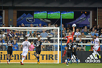 San Jose, CA - Saturday August 18, 2018: Andrew Tarbell during a Major League Soccer (MLS) match between the San Jose Earthquakes and Toronto FC at Avaya Stadium.
