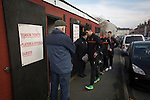Prescot Cables 2 Brighouse Town 1, 13/02/2016. Hope Street, Northern Premier League. Visiting players arriving at the ground before Prescot Cables played Brighouse Town in a Northern Premier League division one north fixture at Valerie Park. Founded in 1884, the 'Cables' in their name came from the largest local employer, British Insulated Cables and they have played in their current ground, also known as Hope Street, since 1906. Prescott won the match 2-1 watched by a crowd of 189. Photo by Colin McPherson.
