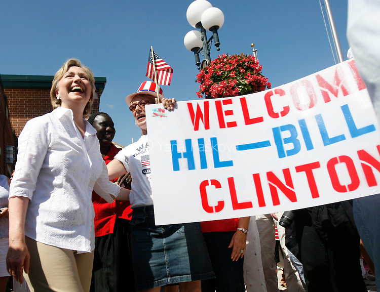 Democratic Presidential hopeful Hillary Clinton (D-NY) brought along her husband, former President Bill Clinton, as she campaigned at the Clear Lake 4th of July Parade in Clear Lake, Iowa, on July 4, 2007.