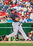 11 September 2016: Washington Nationals outfielder and Baseball America top prospect Trea Turner leads off the bottom of the first inning with a first-pitch single against the Philadelphia Phillies at Nationals Park in Washington, DC. The Nationals edged out the Phillies 3-2 to take the rubber match of their 3-game series. Mandatory Credit: Ed Wolfstein Photo *** RAW (NEF) Image File Available ***