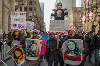 NEW YORK, NY - JANUARY 21: Demonstrators hold signs and chant during  the Women's March in New York City on January 21, 2017. Protesters in the United States and around the world are joining marches Saturday to raise awareness of women's rights and other civil rights they fear could be under threat under Donald Trump's presidency. Photo by VIEWpress/Maite H. Mateo.