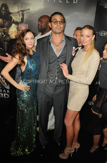 WWW.ACEPIXS.COM . . . . .  ....August 11 2011, LA....Actors Rose McGowan, Jason Momoa and Rachel Nichols arriving at the premiere 'Conan The Barbarian' on August 11, 2011 in Los Angeles, California....Please byline: PETER WEST - ACE PICTURES.... *** ***..Ace Pictures, Inc:  ..Philip Vaughan (212) 243-8787 or (646) 679 0430..e-mail: info@acepixs.com..web: http://www.acepixs.com