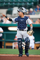Tampa Tarpons catcher Francisco Diaz (17) signals to the defense during a game against the Lakeland Flying Tigers on April 5, 2018 at Publix Field at Joker Marchant Stadium in Lakeland, Florida.  Tampa defeated Lakeland 4-2.  (Mike Janes/Four Seam Images)