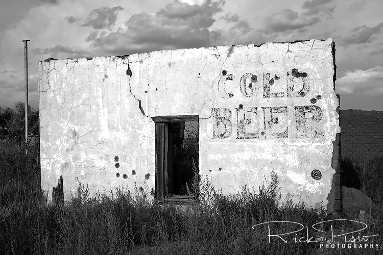 An abandoned store along Route 66 in  Montoya, New Mexico, still advertises Cold Beer.