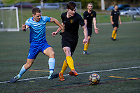 Action from the friendly Capital Football match between Seatoun Premiers and Island Bay Premiers at Wakefield Park in Wellington, New Zealand on Saturday, 30 May 2020. Photo: Dave Lintott / lintottphoto.co.nz