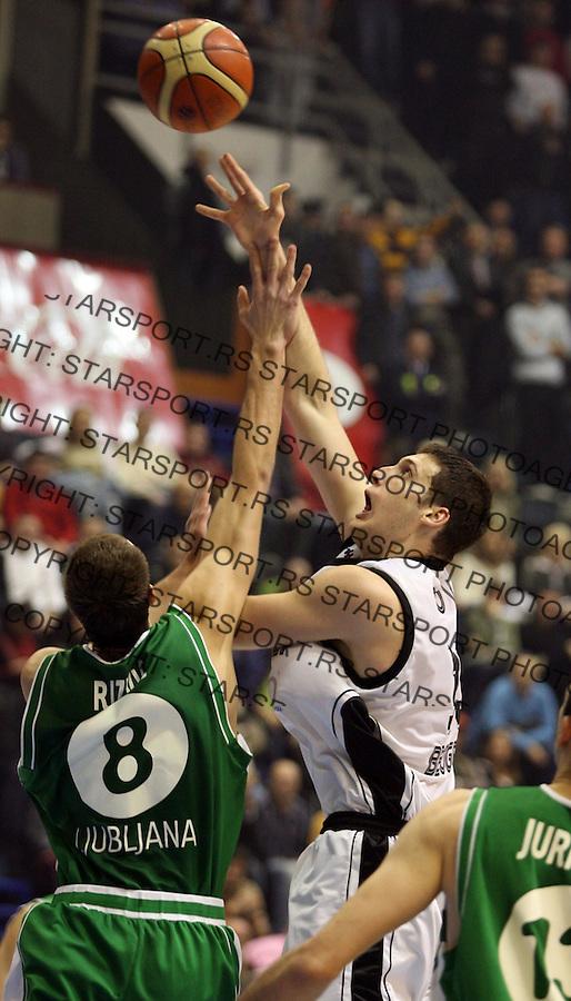 Sport Kosarka Basketball Euroleague Evroliga Partizan Belgrade Beograd Union Olimpija  Kosta Perovic 17.1.2007. photo:Pedja Milosavljevic