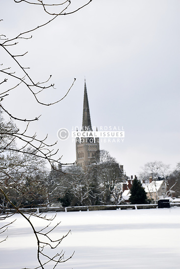 Snow, Norwich Cathedral, Feb 2018 UK