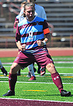 DeSmet's Nick Grewe celebrates with a yell after he scored on a penalty kick against Francis Howell Central. DeSmet defeated Francis Howell Central 2-1 on Saturday September 14, 2019.<br /> Tim Vizer/Special to STLhighschoolsports.com