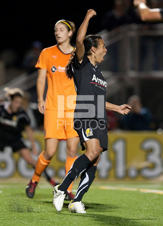 Marta celebrates her goal. FC Gold Pride defeated Sky Blue FC 3-1 at Castro Valley HS Athletic Stadium in Castro Valley, California on APril 17th, 2010.