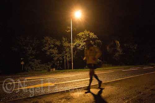 29 SEP 2013 - LENHAM, GBR - Paul Gosney continues running through the night during the inaugural Enduroman 2013 Lands End to London to Dover ultra triathlon (PHOTO COPYRIGHT © 2013 NIGEL FARROW, ALL RIGHTS RESERVED)