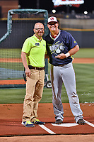 Sheldon Neuse of the Hagerstown Sun is given the home run derby champions award by John Katz of the Columbia Fireflies after winning the home run derby as part of the All Star Game festivities at Spirit Communications Park on June 19, 2017 in Columbia, South Carolina. The Soldiers defeated the Celebrities 1-0. (Tony Farlow/Four Seam Images)