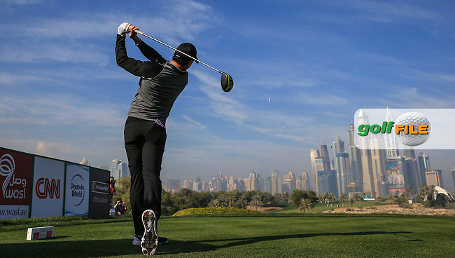 Rory McIlroy (NIR) on the 8th tee during the Pro-Am at the 2016 Omega Dubai Desert Classic, played on the Emirates Golf Club, Dubai, United Arab Emirates.  03/02/2016. Picture: Golffile | David Lloyd<br /> <br /> All photos usage must carry mandatory copyright credit (&copy; Golffile | David Lloyd)