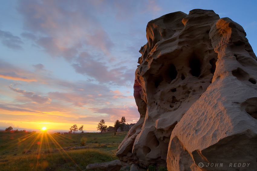 Sandstone rock formation at Medicine Rocks State Park, Montana