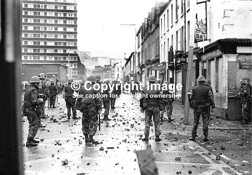 British Army soldiers under attack from rioters in Divis Street, Belfast, N Ireland. Ref: 19701031001.<br />