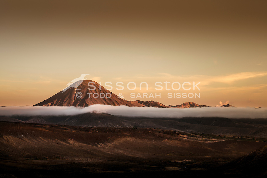 Mt Ngaurahoe at dawn, Tongariro National Park, North Island, New Zealand - stock photo, canvas, fine art print