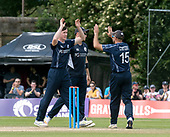 Cricket Scotland - Scotland V Zimbabwe One Day International match at Grange CC today (Thur) - this match is the second of two ODI matches this week against Zimbabwe, and Scotland won the first encounter, on Thursday, by 26 runs - Chris Sole celebrates a wicket - picture by Donald MacLeod - 17.06.2017 - 07702 319 738 - clanmacleod@btinternet.com - www.donald-macleod.com