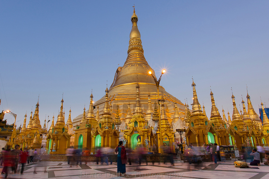Evening at the Shwedagon pagoda, Yangon, Myanmar