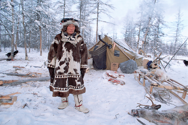 Vitally Elrika, an elderly Even reindeer herder at a winter camp in Northern Evensk. Magadan Region, Eastern Siberia, Russia.