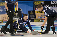Glasgow. SCOTLAND.  Scotland &quot;Vice&quot;, Glen MUIRHEAD, releases his &quot;Stone&quot; at the Hog Line during the &quot;Round Robin&quot; Game. Le Gruy&egrave;re European Curling Championships. 2016 Venue, Braehead  Scotland<br /> Tuesday  22/11/2016<br /> <br /> [Mandatory Credit; Peter Spurrier/Intersport-images]