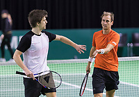 Rotterdam, Netherlands, 10 februari, 2018, Ahoy, Tennis, ABNAMROWTT, Qualifying doubles, Thiemo de Bakker (NED) (R) and Sander Arends (NED)<br /> Photo: Henk Koster/tennisimages.com
