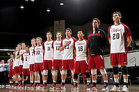 STANFORD, CA - January 13, 2012:  The players before Stanford's 25-13, 20-25, 25-14, 25-14 victory over Juniata in Stanford, California on January 13, 2012.