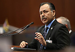 Rudy Malfabon, director of the Nevada Department of Transportation, testifies before the Nevada Senate Committee of the Whole at the Legislative Building in Carson City, Nev., on Thursday, Dec. 17, 2015. Lawmakers continue to hear details of a bill that would give Faraday Future hundreds of millions of dollars in tax credits and abatements. Cathleen Allison/Las Vegas Review-Journal