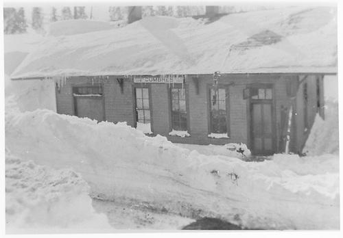 Cumbres depot in snow.<br /> D&amp;RGW  Cumbres, CO