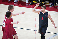 STANFORD, CA - March 14, 2019: Kyle Dagostino, Jaylen Jasper, Leo Henken at Maples Pavilion. The #8 Stanford Cardinal fell to the #6 Pepperdine Waves 3-0.