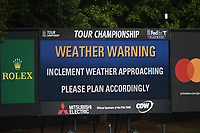 Weather warning during the second round of The Tour Championship, East Lake Golf Club, Atlanta, Georgia, USA. 23/08/2019.<br /> Picture Ken Murray / Golffile.ie<br /> <br /> All photo usage must carry mandatory copyright credit (© Golffile | Ken Murray)