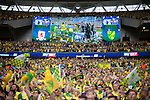 Norwich City 2 Middlesbrough 0, 25/05/2015. Wembley Stadium, Championship Play Off Final. Norwich supporters celebrate. A match worth £120m to the victors. On the day Norwich City secured an instant return to the Premier League with victory over Middlesbrough in front of 85,656. Photo by Simon Gill.