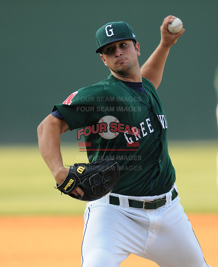 Pitcher Hunter Cervenka (17) of the Greenville Drive, Class A affiliate of the Boston Red Sox, in a game against the Augusta GreenJackets on April 10, 2011, at Fluor Field at the West End in Greenville, South Carolina. (Tom Priddy / Four Seam Images)