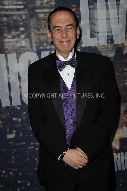WWW.ACEPIXS.COM<br /> February 15, 2015 New York City<br /> <br /> Gilbert Gottfried walking the red carpet at the SNL 40th Anniversary Special at 30 Rockefeller Plaza on February 15, 2015 in New York City.<br /> <br /> Please byline: Kristin Callahan/AcePictures<br /> <br /> ACEPIXS.COM<br /> <br /> Tel: (646) 769 0430<br /> e-mail: info@acepixs.com<br /> web: http://www.acepixs.com