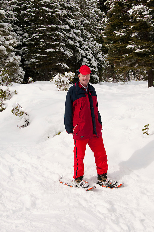 California, Lake Tahoe: Man on snowshoes author photographer Lee Foster at North Lake Tahoe Regional Park.  Photo copyright Lee Foster.  Photo # cataho107500