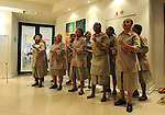 FUDBAL, JOHANEZBURG, 08. Jun. 2010. - Zaposlene radnice u hotelu Garden Court pevaju pesmu dobrodoslice novinarima iz Srbije. U Juznoj Africi se od 11. juna do 11. jula odigrava Svetsko prvenstvo u fudbalu. Foto: Nenad Negovanovic