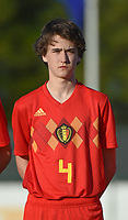 20180417 - TUBIZE , BELGIUM : Belgian Lucas Beerten pictured during the friendly  soccer match between  under 15 teams of  Belgium and Switzerland , in Tubize , Belgium . Tuesday 17 th April 2018 . PHOTO SPORTPIX.BE / DIRK VUYLSTEKE
