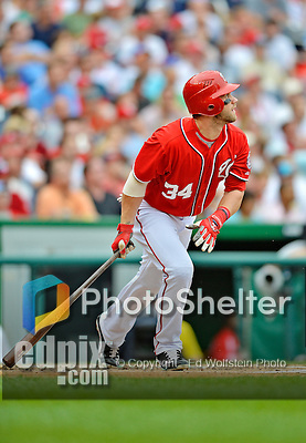2 September 2012: Washington Nationals' rookie outfielder Bryce Harper in action against the St. Louis Cardinals at Nationals Park in Washington, DC. The Nationals edged out the visiting Cardinals 4-3, capping their 4-game series with three wins. Mandatory Credit: Ed Wolfstein Photo