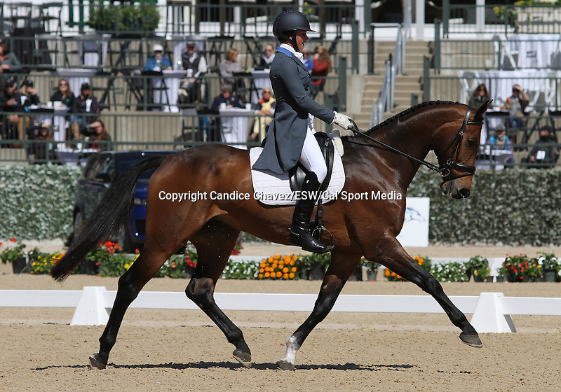 April 23, 2015:  #16 RF Eloquence and Elinor MacPhail finish in #11 place on the first day of Dressage at the Rolex Three Day Event at the Kentucky Horse Park in Lexington, KY.  Candice Chavez/ESW/CSM
