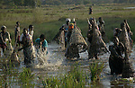 World Water Day. A group of women of etnia Macue are fishing in the wetlands in the region of Beira, Mozambique .